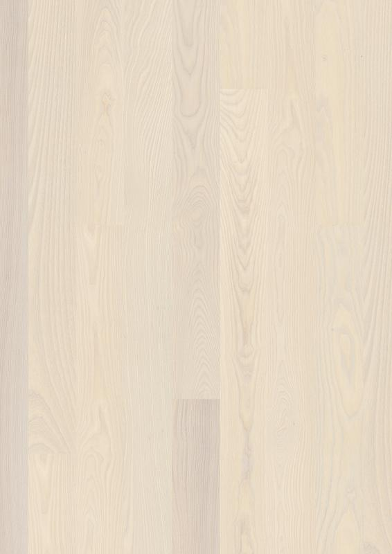 Ash Andante White, Live Pure lacquer white, beveled 2V, brushed, 14mm Plank 138mm, 14x138x2200mm