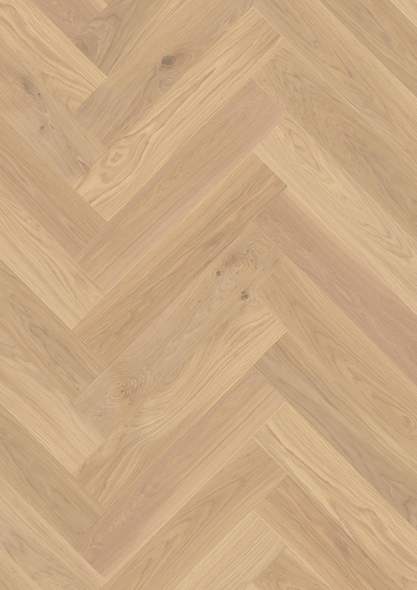 Oak Adagio white, Live Natural oil white, Brushed, Beveled 4V, Plank Herringbone Click, 14x138x690mm